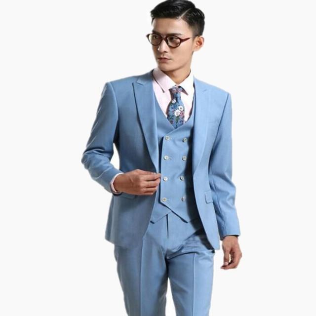 New Latest Style Men Suits Light Blue One Button Suits