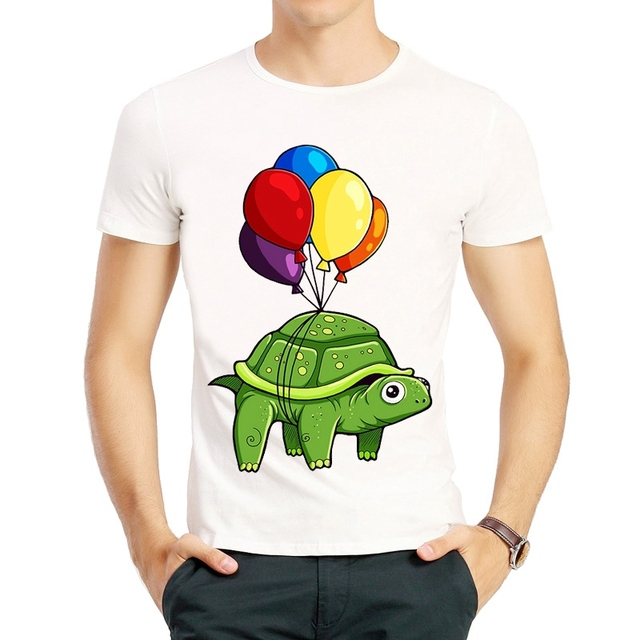 Mens Street Fashion Flying Turtle T Shirt Short Sleeve Animal