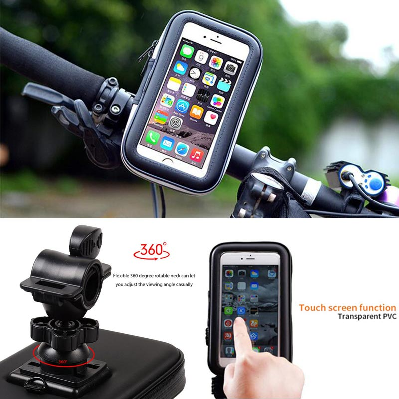 Image 4 - Bicycle Motorcycle Phone Holder telephone Support For Moto Stand Bag For Iphone X 8 Plus SE S9 GPS Bike Holder Waterproof Cover-in Phone Holders & Stands from Cellphones & Telecommunications