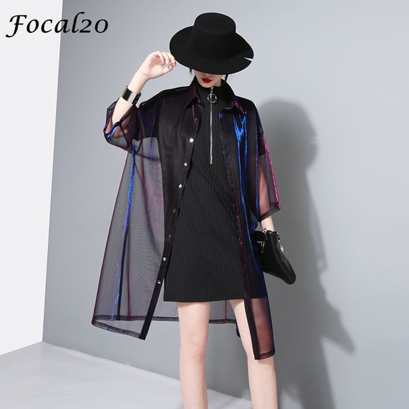 Focal20 Streetwear Mesh Gradient Laser Women Sunproof   Blouse     Shirt   Summer Oversize Sun Protection See Through   Blouse