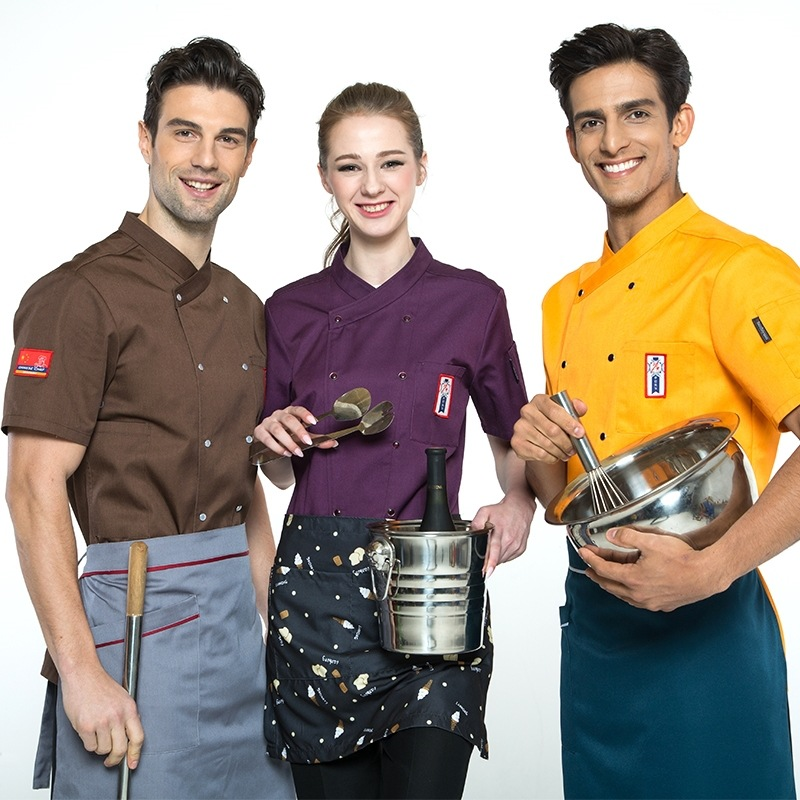 Hotel Chef Short Sleeve Jakcet Men's And Women's Work Clothes Double-breasted Restaurant Canteen Baked Pastry Uniforms