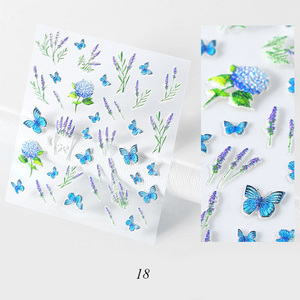 Image 5 - 3D Acryl Gegraveerde bloem Nail Sticker Reliëf Luipaard bloem Bladeren Water Decals Empaistic Nail Water Slide Decals Z0109