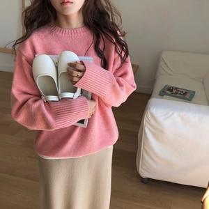 Image 2 - Swetry damskie solidne O Neck ciepłe proste eleganckie studenci koreański styl wypoczynek kobiet luźne Kawaii kobiet sweter wysokiej jakości