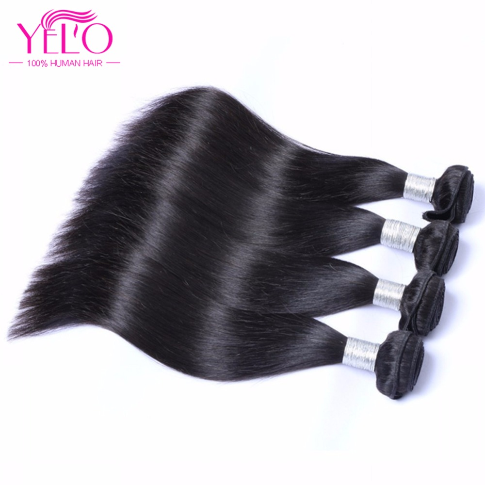 Yelo Hair 4 Bundles Straight Hair Brasilian Hair Weave 4Bundles Deal - Menneskehår (sort)