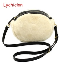 Fall winter hotsale real sheep fur hair+genuine leather women shoulder bag Luxury brand designer warm feminina ladies bag for ev