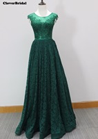Fast shipping ! In stock cheap A line floor length lace graduation dresses for high school with beaded appliques illusion back