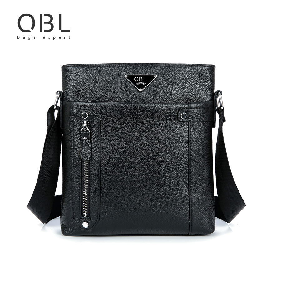QiBoLu Cow Genuine Leather Messenger Bagss
