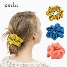 Small fresh spring and summer chiffon simple head flower print hair ring cute bunch release art accessories