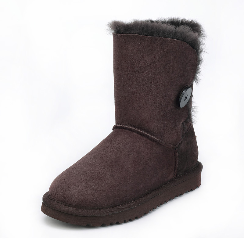 Quality assurance, sheep skin, wool, one snow boots female winter flat bottomed buckle with warm boots,Large size/ free shipping цены онлайн