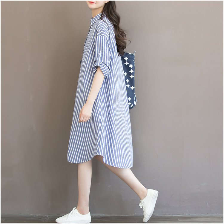 9ddca74becb99 2019 Maternity Striped Long Sleeve Shirts Dress New Fashion Cotton Dress  Cute Linen Dress Turn down Collar Pregnancy Dress Cute-in Dresses from  Mother ...