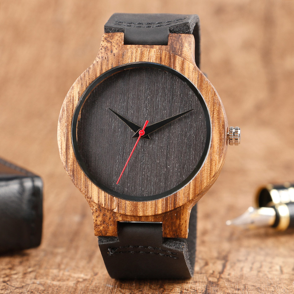 Creative Wood Watch Male Wristwatches Wooden Clock Men's Bamboo Leather Wood Watches Gift relogio de madeira (1)