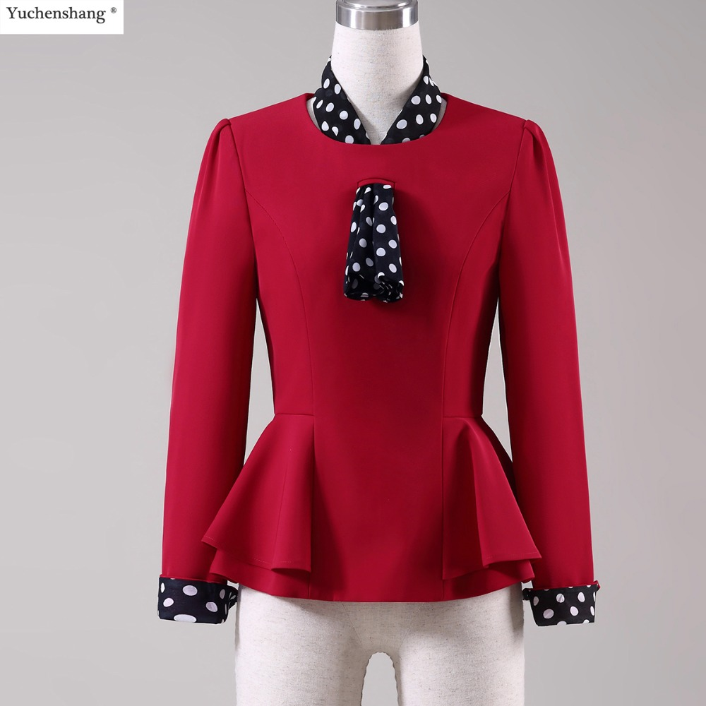 Women Jackets Blazers Outwear Coat Office Lady Elegant Autumn Winter And O-Neck Ribbons
