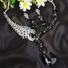 Tuliper Leopard biżuteria dla zwierząt zestaw czarny kryształ austriacki naszyjnik zestaw kolczyków kobiety biżuteria akcesoria naszyjnik zestaw tanie tanio Zinc Alloy Crystal Śliczne Romantyczny Necklace Earrings Jewelry Set Naszyjnik kolczyki Moda ALBL02532 Zestawy biżuterii