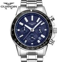 Top Brand Mens Watches Luxury GUANQIN Quartz Watch Men Fashion Blue Clock Full Steel Waterproof Wristwatch