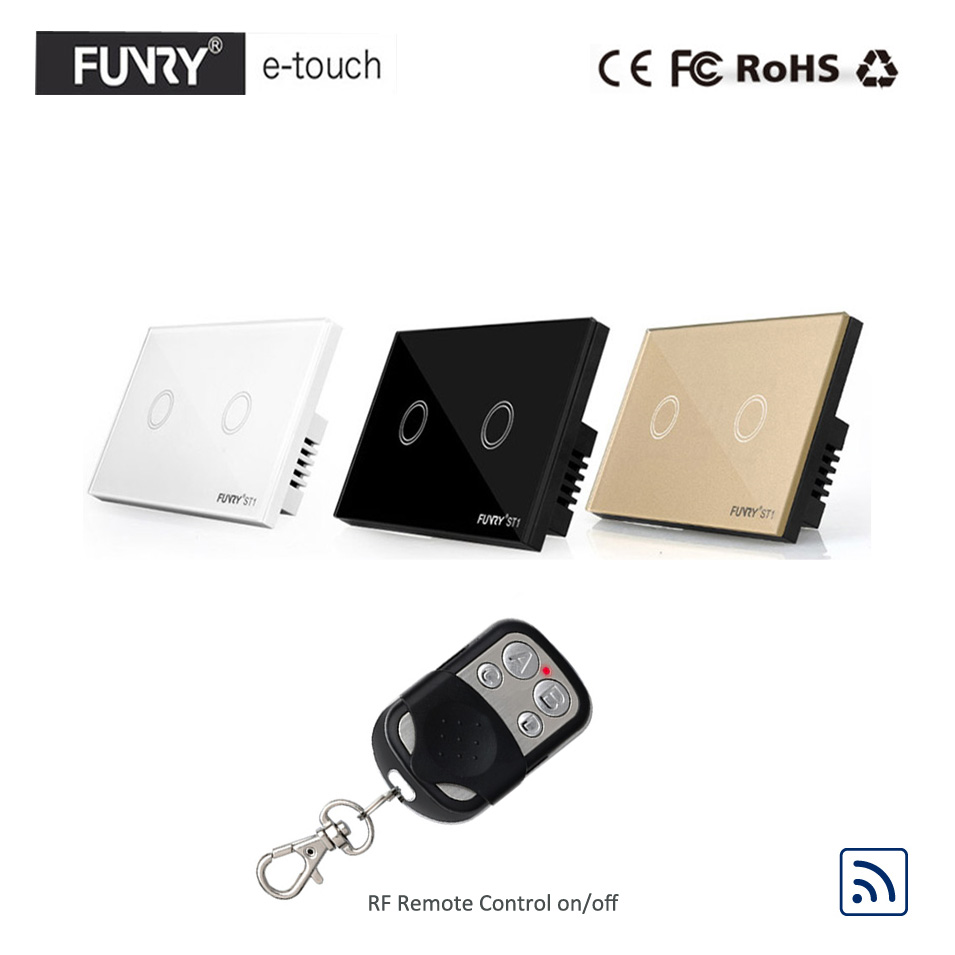 Funry US/AU Standard,Luxury Crystal Glass Panel Touch Light Switch, 2 Gang 1 Way RF433 Remote Switch, Wall Switch for Smart Home wall light touch switch 2 gang 2 way wireless remote control touch switch power for light crystal glass panel wall switch
