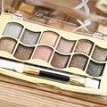 12 Colores Shimmer Bronceadores Paleta de Sombra de Ojos Perfecto para Ojos Ahumados Maquillaje Herramientas de Belleza Cosméticos con Cepillo