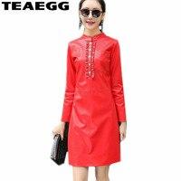 TEAEGG Robe Femme Ete 2018 Stand Collar Red PU Leather Dress Vintage Spring Autumn Long Sleeve Ladies Dresses Big Size AL876