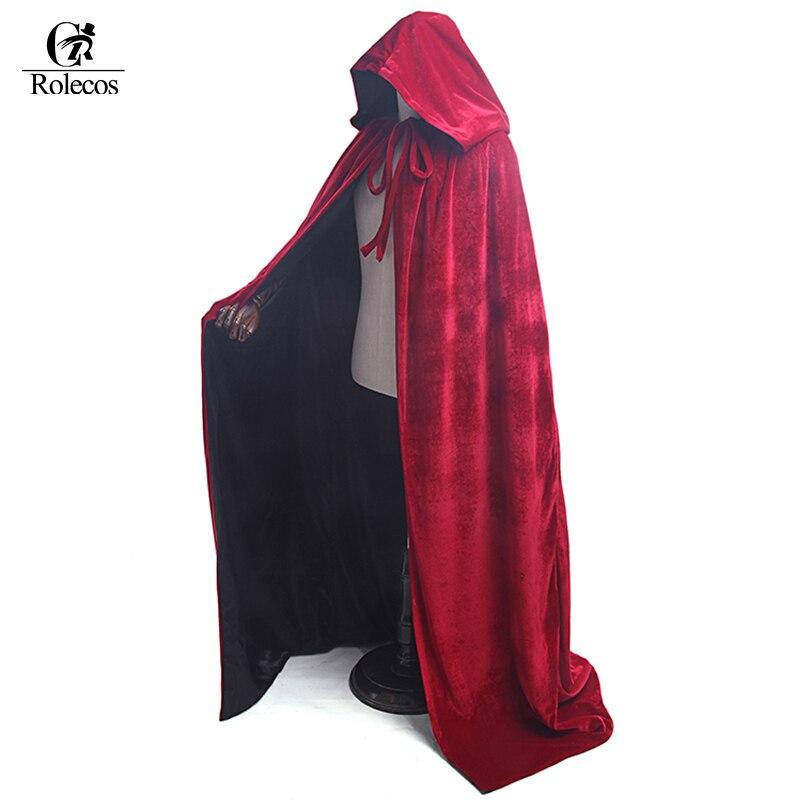 Le donne e Gli Uomini Cappuccio Rosso Lungo Mantello Rosso Mantello Per Adulti Mago Strega Medievale Abito Scialle Del Partito di Halloween Costumi