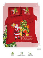 IvaRose 100% cotton Christmas Bedding Set Santa Claus Printed 3D Bed Linen Soft Duvet Cover with PillowCase