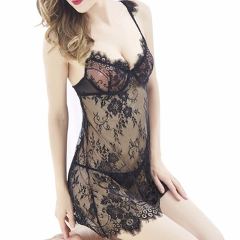 1 PC Women Lingerie Nightwear Lace Deep V Sexy Suspender Eyelash Perspective Nightdress Plus Size  2018 Newest Nightgowns & Sleepshirts