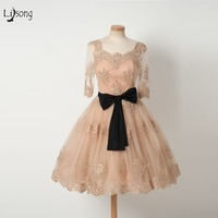 High End Champagne Lace Knee Length Cocktail Dresses With Three Quarter Sleeves Modest Prom Gown Homecoming Dress Abiye Vestidos