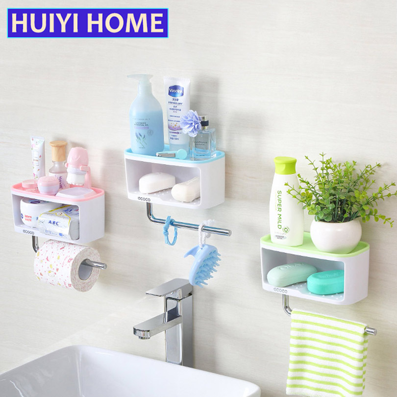 HUIYI HOME Bathroom Toiletries Storage Rack Multifunctional Double Sundries Shelf Towel Drying Rack Soap Box EGN412
