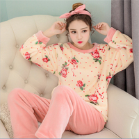 Autumn Winter Flannel Round Neck Pajamas Sets thickening women cute Floral Long sleeved trousers Indoor Clothing nightgown