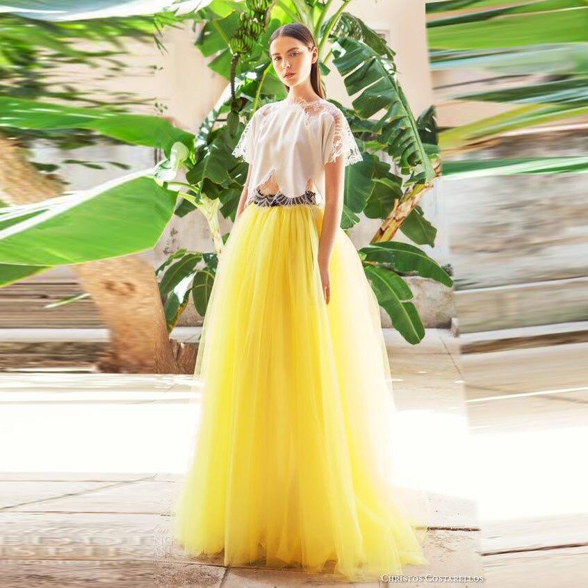 Couleur vive bouffante Tulle longues jupes sur mesure élastique taille ligne bal fête femmes formelle Maxi jupe grande taille pour fille noire