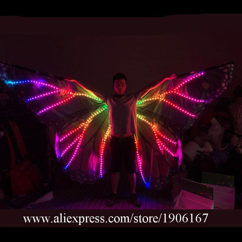 Модные яркие светодиодный световой крылья бабочки СВЕТОДИОДНЫЙ Свет ISIS Крылья стадии роста производительности плащ бальных танцев RGB кост