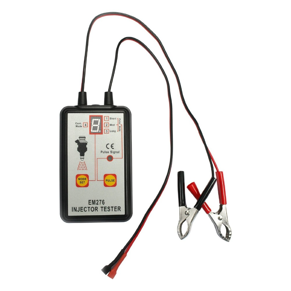 Fuel Injector Tester Automotive Fuel Pump System Analyzer 4 Pulse Modes Allsun EM276 Injector Pressure Gauge