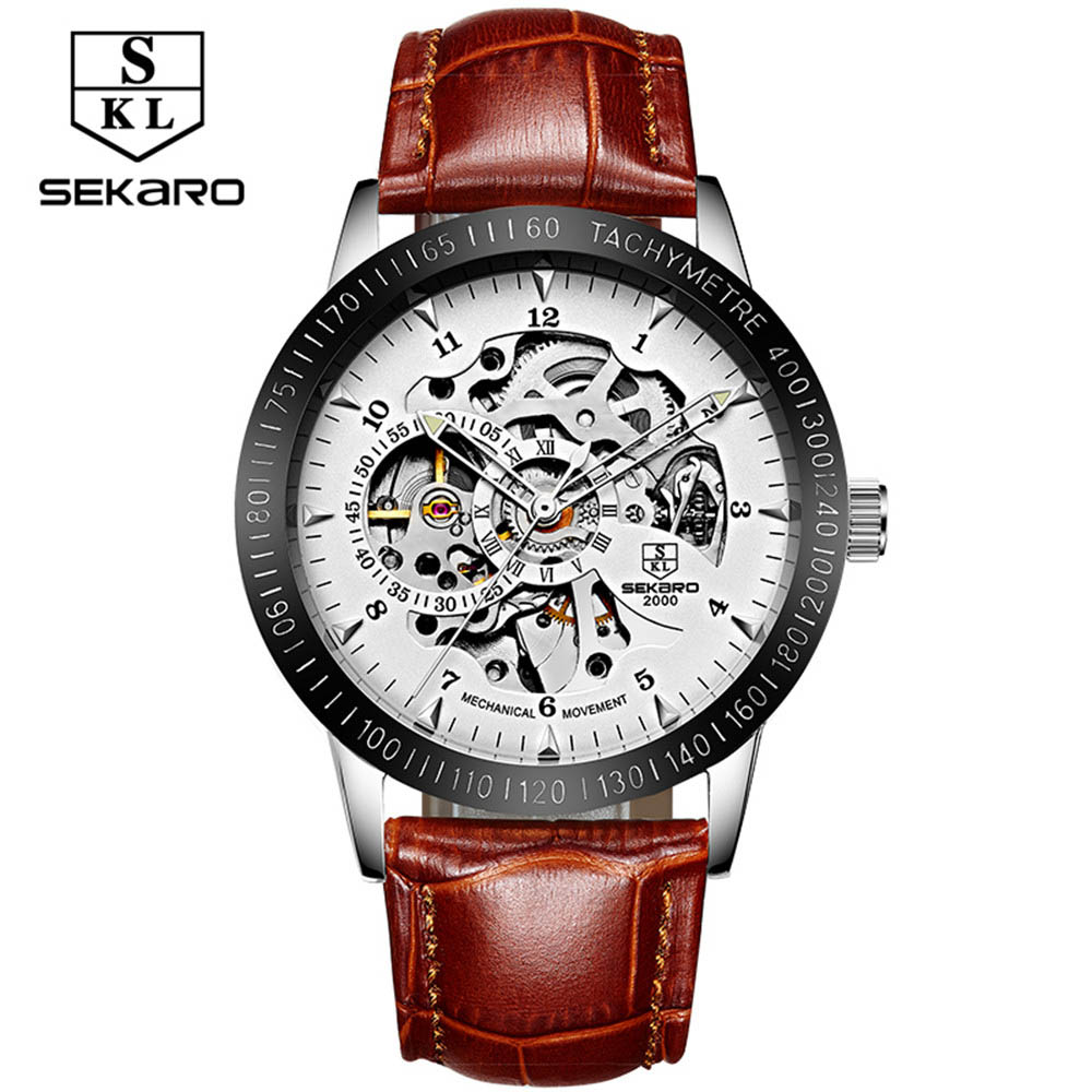 2017 Fashion SEKARO Men Luxury Brand Number Hand-wind Leather Watch Automatic Mechanical Wristwatches Gift Box Relogio Releges winner women luxury brand stones skeleton leather band ladies watch mechanical hand wind wristwatches gift box relogio releges