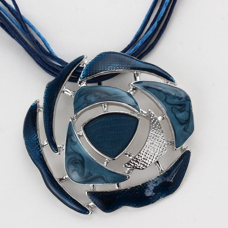 retro blue enamel round hollow pendant necklace bridal wedding jewelry sets for women lucite drop earrings sets
