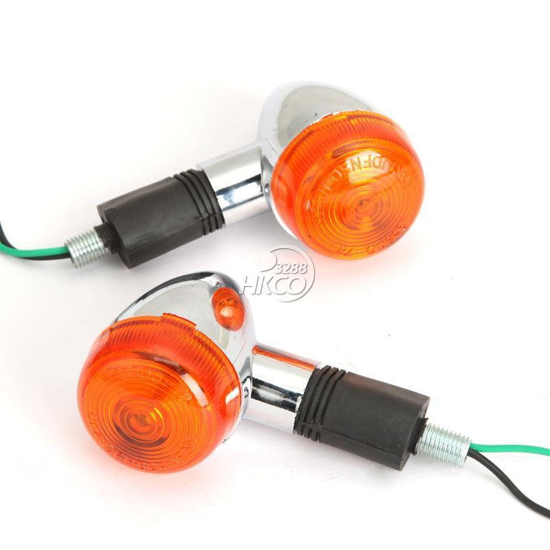 2x Universal Bullet Motorcycle Turn Signal Indicator Amber Blinker Lights Chrome