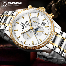 Men's Watch CARNIVAL Top Luxury Brand Male Steel Automatic Mechanical Watch Men Multi-fuction Military Luminous Wrist Watches
