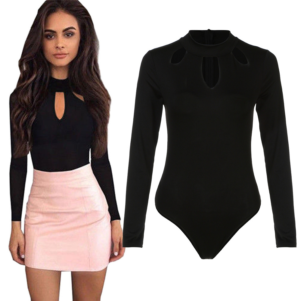 New Fashion Ladies O Neck Long Sleeve Playsuits Sexy Hollow Out Balck Clubwear Bodysuit Tops Hot Sale   Jumpsuits   for women 2019