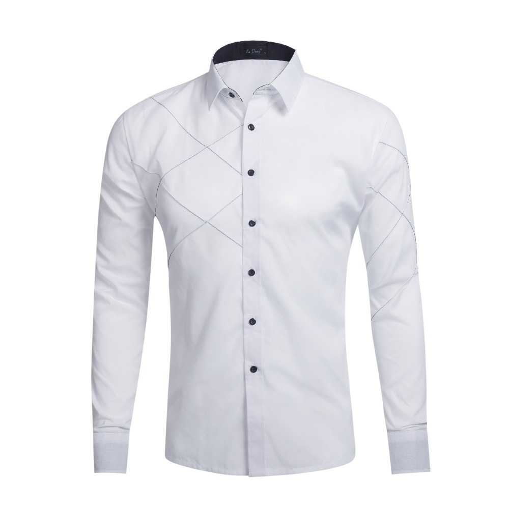 Long Sleeve Casual Shirts Dress Male Clothing Social Slim Fit Brand Boutique Button Solid Color Mens Shirts Multi Colors