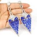 Лонг Big Drop Реальный Синий Сапфир, белый Cz женщины Свадебные Серебряные Серьги 100x32 мм