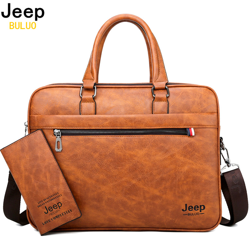 JEEP BULUO Famous Brand Men Briefcase Bag office Business Leather  Shoulder Crossdody Bag Travel 14Laptop iPad A4 Files  HandbagsBriefcases