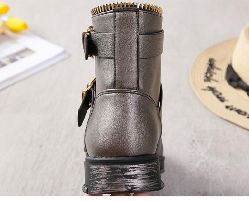 COOTELILI Fashion Zipper Boots Women Shoes Woman Ankle Boots For Women 4cm Heel Winter Autumn Rubber Boots Women 35-40 (3)
