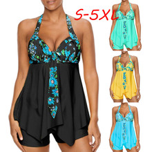 bikini 2019 Womens Print Swimwear Bathing Asymmetric swimsuit plus size sexy set Sexy Halter Floral