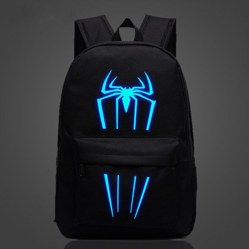 2018 New Spiderman Backpack Luminous Printing Teenagers Schoolbag Boys Girls Large Capacity Capacity Travel Rucksack Drop Ship