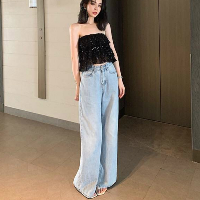 Women Wide Leg   Jeans   FashionThin Denim Trousers