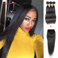 Top 7A Mink Brazilian Virgin Hair With Closure Lace Frontal Closure With Bundles Brazilian Straight Hair With Closure Human Hair
