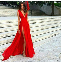 Cheap Red Prom Dresses 2019 Gala Jurken Sexy Deep V Neck Special Occasion Dress A Line Vestido Formatura Formal Gowns