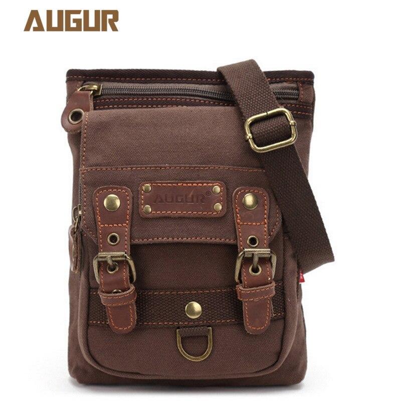 AUGUR nouveaux hommes messenger sacs toile cuir rabat sac à bandoulière célèbre designer marques haute qualité sacs de voyage pour hommes de haute qualité