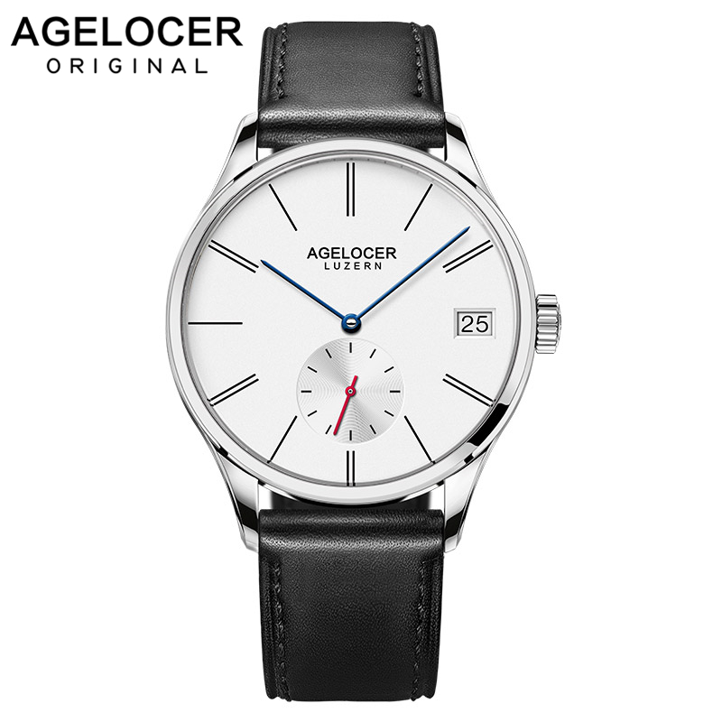 Agelocer Swiss Original Men's Watch Luxury Famous Brand Men's Mechanical Watches Men Hour Date Clock Male Leather Dress Watches