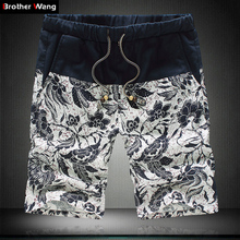 2016 Summer Fashion Men's Casual Linen Shorts Trousers with Mosaic Flower Pattern Big Yards 4XL 5XL bermuda male Short