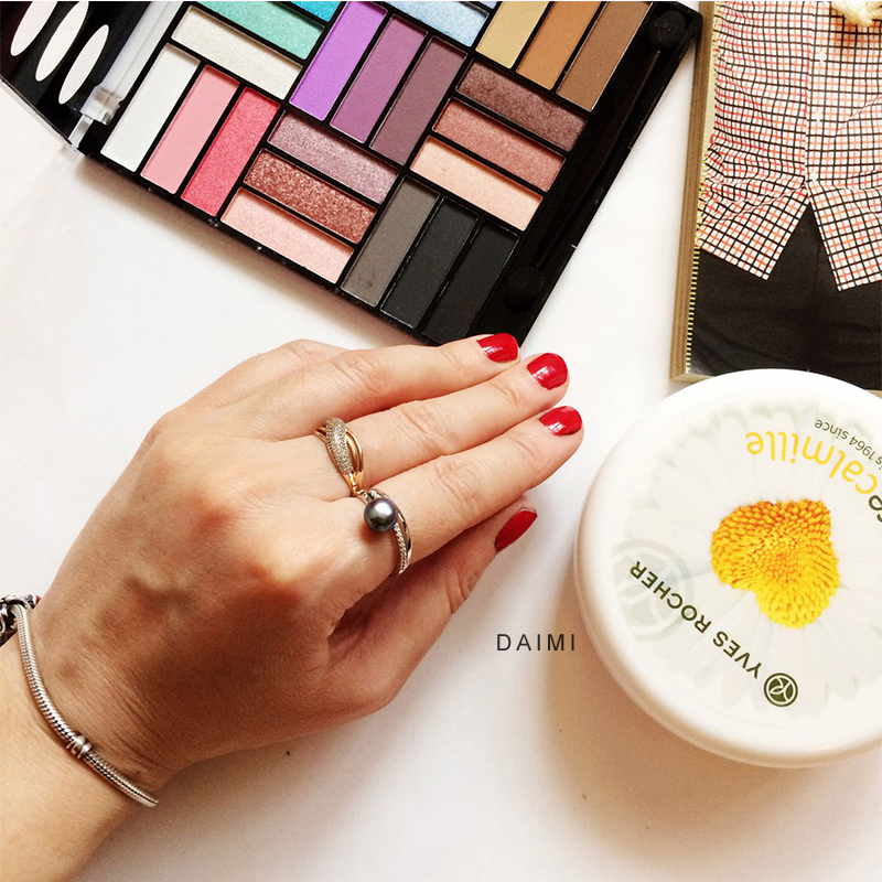 DAIMI Ring 7-8 MM Süßwasser Perle Ring 6 Farbe Mode Nettes Geschenk - Edlen Schmuck - Foto 2