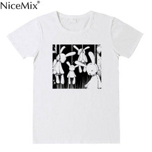 NiceMix Japan Women's Clothing dark cartoon print Tops O-neck short sleeve kawaii tshirt Tees new summer ulzzang loose sweet Tee цены
