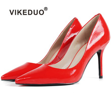 Vikeduo Hot 2019 Handmade New Feminino Genuine Leather Shoes Original Design fashion  Party Wedding Shoe Women Thin High Heels